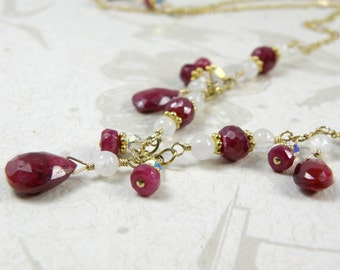 Natural Ruby Necklace, Real Ruby, Red, Gold Filled, Statement Necklace, July Birthday, Birthstone, Holiday Handmade Jewelry, Artisan