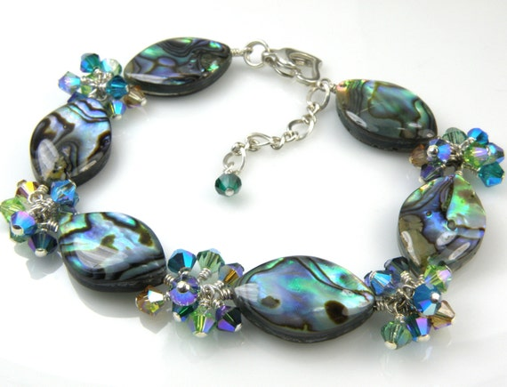 Custom Abalone Bracelet, Paua Shell Jewelry, Teal Shell, Sterling Silver, Swarovski Crystals, Handmade Beach Jewelry