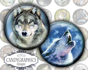 Wolves Digital Collage Sheet 2 - 1x1 inch Circles Great for Bottlecap pendants - Buy 2 Get one FREE FREE