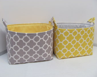 2 LARGE Fabric Organizer Baskets Storage Container Bin Bag Bucket Home Decor - Size Large - Quatrefoil in grey and yellow