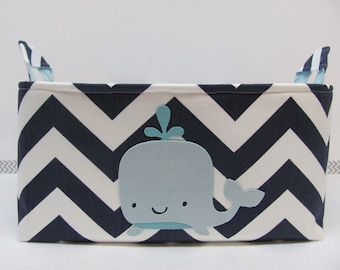 NEW Fabric Applique WHALE Diaper Caddy - Fabric organizer storage bin basket - Zig Zag/Chevron You CHOOSE the fabrics