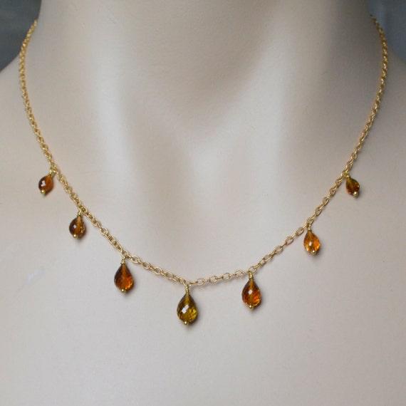 hessonite garnet briolette necklace by tinybaublesbyellen