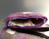 Lavender Multi Recycled Silk and Wool Zippered Coin Purse Wristlet Pouch Handmade Knit and Felt by Rosy Toes Designs