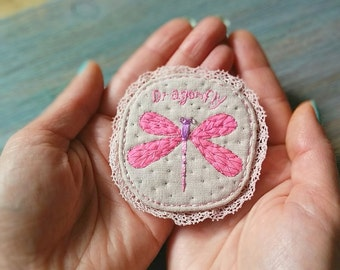 "Brooch ""Pink Dragonfly""  - hand embroidered jewelry"