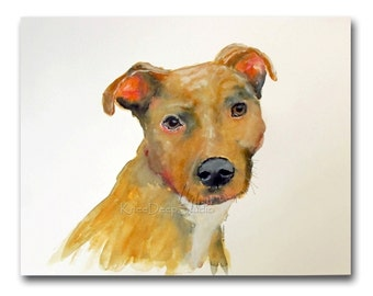 Dog Portrait watercolor painting 8x10 Fine Art Print limited edition yellow Pit Bull Modern Minimalist contemporary decor small format art