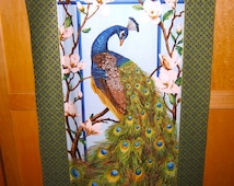 Fabric Northcott Royal Peacock PANEL bird feathers metallic gold accents Magnolia flowers