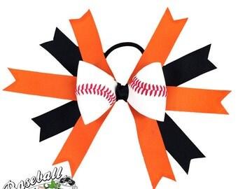 Baseball Hair Bow - Orange Black