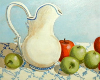 Painting Still Life Pitcher and Apples ORIGINAL