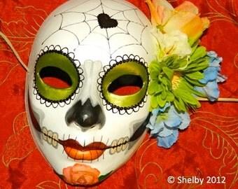 Day of the Dead Mask Mexican Electric Green Sugar Skull Dia de los Muertos