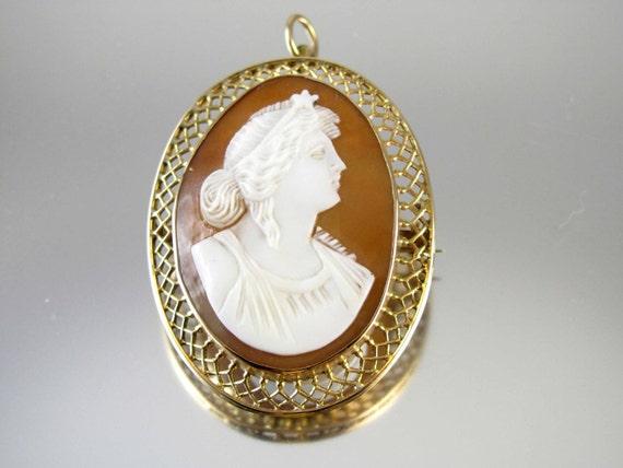 Antique Victorian Star Goddess 10k cameo brooch pin pendant Signed Granbery