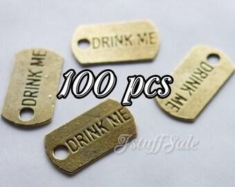Wholesale - 100 pcs DRINK ME mini metal tag charms