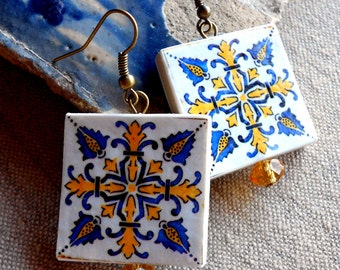 Portugal Azulejo Tile Replica LARGE Earrings from BARCELOS Blue Gold  (see actual Facade photos) waterproof and reversible