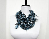 GladRagz Circle of Chains Necklace Scarf in Navy Blue, White Polka Dot Chiffon Ready to Ship Infinity Circle Shredded Knotted Crochet Scarf