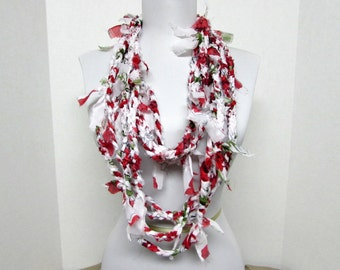 GladRagz Circle of Chains Necklace Scarf in White, Red, Green Chiffon Ready to Ship Infinity Knotted Shredded Circle Crochet Scarf