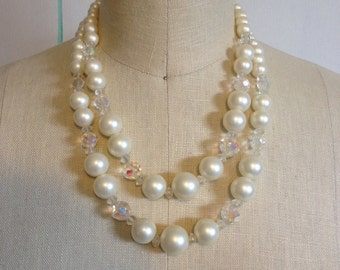 Pearl and Aurora Borealis Vintage Necklace