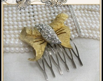 Wedding Vintage Hair Comb Gold Tone Bow Rhinestone Center Bridal Prom Christmas