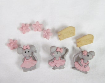 Mice, Mouse, The Mice Girls  Buttons Each a Set of 9