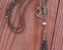 Tassel Necklace - Upcycled Jewelry - Keyhole Escutcheon with Handcrafted Tassel Necklace - Stylish, Versatile, Everyday