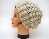 Unisex Crochet Hat - Textured Wool Slouchy Beanie In Natural - Warm Headwear - Winter Fashion - Crochet Accessories