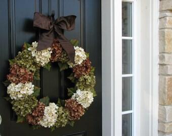 Hydrangea Wreaths for Fall, XL Fall Wreaths, Brown Ribbon Bows, Large Fall Wreaths, Autumn Wreaths for Door, Fall Decor, Fall Door Wreaths