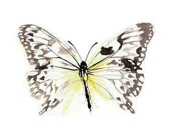 Yellow Butterfly Art Print Butterfly Watercolor Painting Butterfly Illustration A4