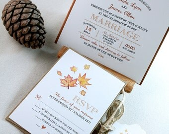 Fall/ Autumn Hand Drawing Watercolor Maple Leaves Invitation Sets