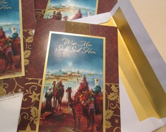 12 Christian Christmas Cards Deluxe Vintage Wisemen Gold Ribbon Christmas Cards Notecards Greeting Cards Xmas Scene Lot Christian Invitation