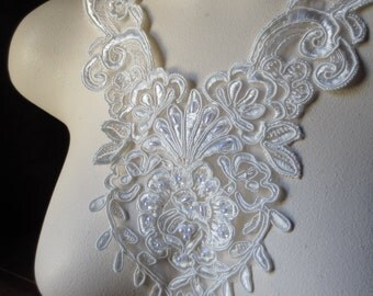 Ivory Beaded Alencon Lace Applique for Lyrical Dance, Ballet, Bridal, Costume Design IA 123A