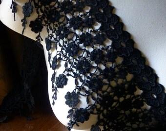 Black Lace Trim in Venise Lace for Bridal, Jewelry or Costume Design L 198bl