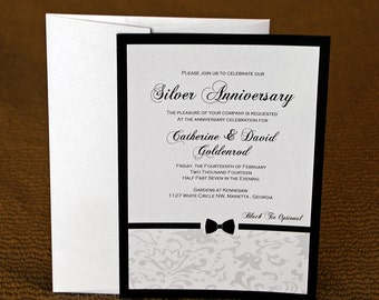black tie invitation black tie event bow tie invitation black tie party - Black Tie Wedding Invitations