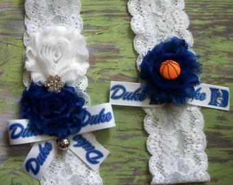 Basketball Wedding Garter,Bridal Garter,Duke Inspired  Garter,Bridal Garter,Duke Inspired Basketball,Duke Inspired ,Something Blue