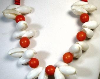 SALE, Mermaid White SeaShell Necklace with Orange Wood Disc Beads, 1980s, Beachy Fun