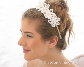 Lace Wedding Headband, Wedding Hair Accessory, Bohemian Lace Daisy Headband, Boho Bridesmaids Hair, Wedding Headpiece