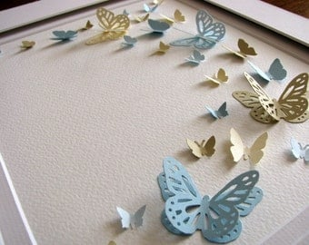 Soft Cottage Palette 3D Butterfly Art. French Blue, Sand, Pale Blue, Cream. Paper Butterfly Wall Art. 8x10. Made to Order