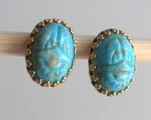 Very Pretty Faux Turquoise Carved Scarab Beetle Screw Back Earrings
