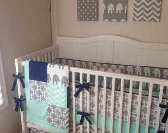 Deposit Crib Bedding Set Gray Navy and Mint Elephant with Blanket Made to Order