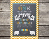 Printable Party Pack featuring Elephant Chevron Chalkboard design - invitation, thank you notes, cupcake toppers, garland and more