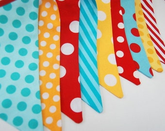 Red, Aqua Blue, Yellow Circus or Carnival Birthday Party Theme -- Bunting Banner Decoration, Photo Prop - Fabric, Cloth Flags