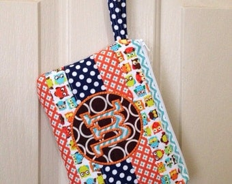 SALE   A-Z Trendy Quilted Chevron Dots Zipper Pouch