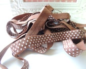"""5 Yards of 5/8"""" Printed Fold Over Elastics FOE - Brown with White Dots"""