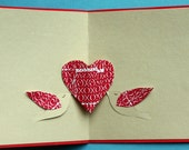 Birds and heart pop up card, Valentines Day, anniversary, wedding, red and tan, red and white, love