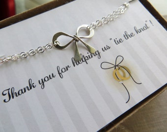 Bridesmaid gift, silver bow charm bracelet, thank you for helping us tie the knot, bridesmaid thank you gift