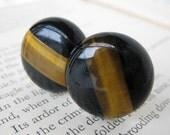 Cufflinks Vintage Black Onyx Topaz Tiger Stripe Fiber Optic Inlay Gold Plate Cuff Links