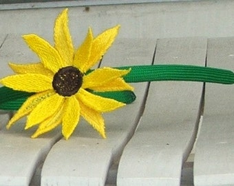 Headband, Green, Black-Eyed Susan, Embroidered Freestanding Lace
