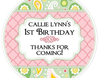 Shabby Chic Birthday Labels, Pink and Green Paisley, Personalized 1st Birthday Stickers, Birthday Decoration, Damask Party Favors