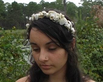 bohemian wedding, headband, head dress, wearable art ,button art ,upcycled vintage buttons