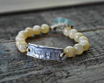 Namaste yellow jade sea glass organic cotton sterling silver bracelet