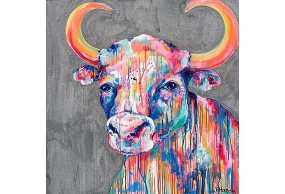 Signed Print 8x8 Ole the Bull
