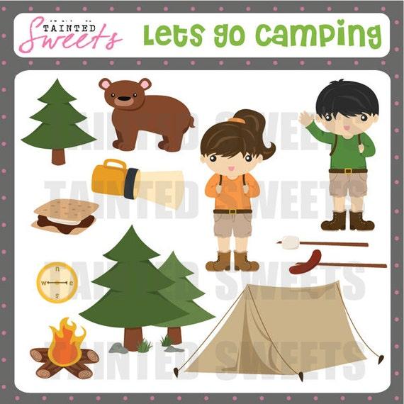 Lets Go Camping Clip Art Set