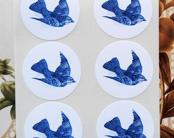 Stickers Blue Bird Party Favor Treat Bag Stickers SP035